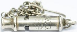 Great Central Railway nickel plated brass Police whistle, stamped G.C.R Dowler & Sons Graham St