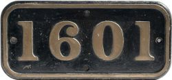 BR-W brass cabside numberplate 1601 ex Hawksworth 0-6-0 PT built at Swindon in 1949. Allocated to