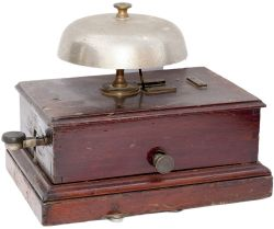 Great Western Railway mahogany cased Block Bell with large mushroom bell and front tapper. In very