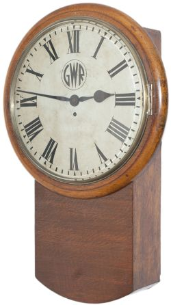 Great Western Railway 14 inch oak cased English fusee railway clock supplied to probably the Vale of