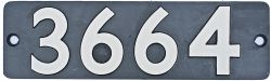 Smokebox numberplate 3664 ex GWR Collett 0-6-0 PT built at Swindon in 1940. Allocations included 84A