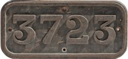 GWR cast iron cabside numberplate 3723 ex Collett 0-6-0 PT built at Swindon in 1937. Allocated to