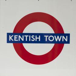 London Underground enamel target / Bullseye sign KENTISH TOWN measuring 25.5in x 25.5in. In mint
