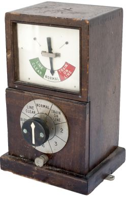 GWR mahogany cased 1947 Single Line Permissive Block Sending instrument. In excellent ex box