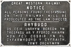 GWR cast iron bilingual TRESPASS sign. Nicely face restored measures 28.5in x 18in.