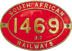 South African Railways brass cabside numberplate 1469 3 R ex 4-8-2 built by The North British