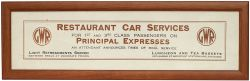 Great Western Railway carriage print RESTAURANT CAR SERVICES FOR 1ST AND 3RD CLASS PASSENGERS ON