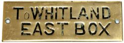 GWR hand engraved brass shelf plate TO WHITLAND EAST BOX. In very good condition measures 4.75in x