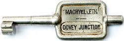 GWR/BR-W Tyers No9 single line aluminium key token MACHYNLLETH - DOVEY JUNCTION, configuration D. In