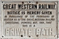 GWR cast iron sign GREAT WESTERN RAILWAY NOTICE IS HEREBY GIVEN THIS IS A PRIVATE PATH. Measures