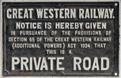 GWR cast iron sign GREAT WESTERN RAILWAY NOTICE IS HEREBY GIVEN THIS IS A PRIVATE ROAD. Measures