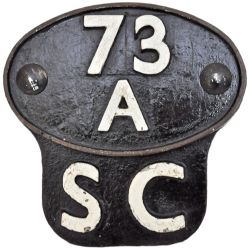 Shedplate 73A Stewarts Lane 1950-1962 complete with Self Cleaning Plate. Ex BR Standard. Face