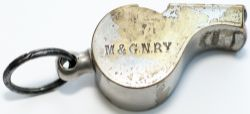 Midland and Great Northern Railway nickel plated brass Guards whistle stamped on the side M&GNRY and