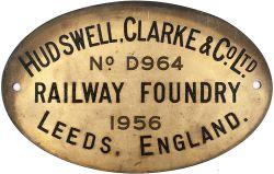 Diesel worksplate HUDSWELL CLARKE & Co Ltd LEEDS, ENGLAND No D964 1956, ex standard gauge 0-4-0DM