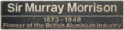 Nameplate SIR MURRAY MORRISON PIONEER OF THE BRITISH ALUMINIUM INDUSTRY ex BR class 37 37423.