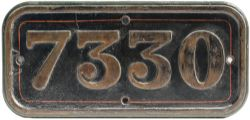 GWR cast iron cabside numberplate 7330 ex Churchward 2-6-0 built at Swindon in 1932 as 9308 and