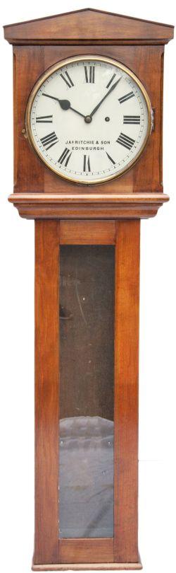 Glasgow & South Western Railway 13in dial mahogany cased regulator railway wall clock. The