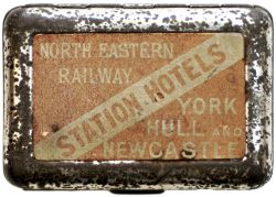 Vesta case NORTH EASTERN RAILWAY STATION HOTELS YORK, HULL AND NEWCASTLE. Marked on the base