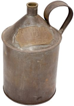 Oil/Paraffin tinplate container brass plated CHESHIRE LINES HUSKISSON and stamped C.L.C on the side.