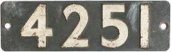 Smokebox numberplate 4251 ex GWR Churchward 2-8-0 T built at Swindon in 1916. Shedded at 86F Tondu