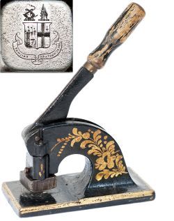 Great Western Railway letter embossing tool. Cast iron lever operated with steel die block with