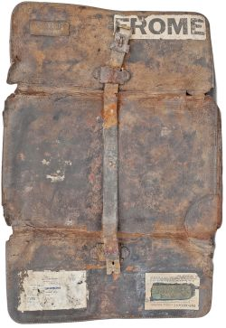 GWR leather document case with 2 brass plates GWR FROME and GWR AUDIT OFFICE PADDINGTON. In fair