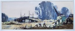 Original Gouache painting BRIDGE BUILDERS, NEAR PULLBOROUGH by Jack Merriott circa 1950's.