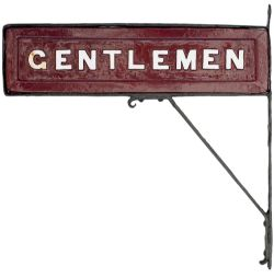 Midland Railway wood with cast iron letters double sided sign GENTLEMEN ex Rowsley Station. In