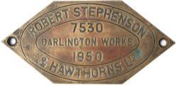 Worksplate ROBERT STEPHENSON & HAWTHORNS DARLINGTON WORKS 7530 1950 ex Thompson L1 2-6-4 T 67796.