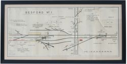 LMS signal box diagram BEDFORD No1, full colour with FROM SANDY and BLETCHLEY either end, dated