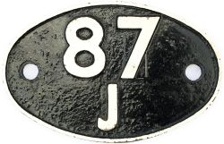 Shedplate 87J Fishguard 1950-1963. Face restored with clear Swindon casting marks to rear.