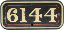 GWR cast iron cabside numberplate 6144 ex Collett 2-6-2 T built at Swindon in 1932. Sheds included