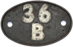 Shedplate 36B Mexborough 1950-1958 with sub shed Wath Electric from 1952. Lightly cleaned with