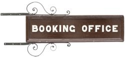 GWR wood with cast iron letters sign BOOKING OFFICE, double sided with original mounting brackets.