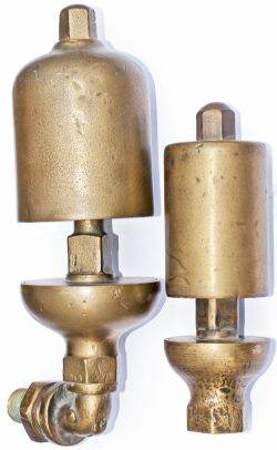 GWR brass locomotive whistles a pair of large and small in good condition one still with right