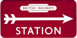 BR(M) FF STATION direction enamel sign with British Railways totem at the top and right facing