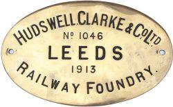Worksplate HUDSWELL CLARKE & Co Ltd LEEDS No 1046 1913, ex Manchester Ship Canal 0-6-0T number 59