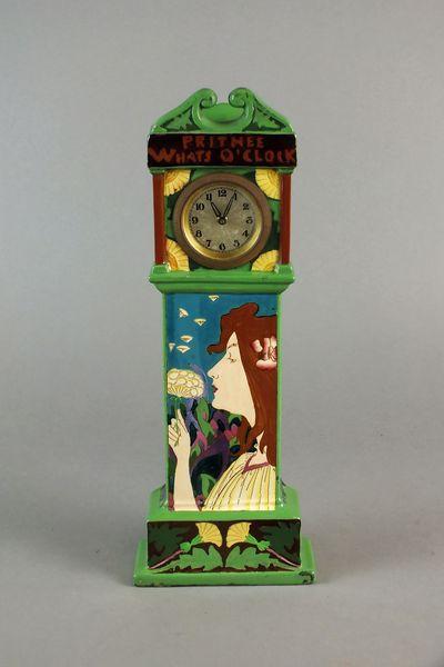 A Wileman & Co., The Foley China 'Intarsio' ware miniature pottery longcase clock, circa 1900 Art