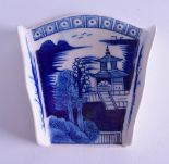 Lot 154 - 18th c. Derby asparagus server painted with a Chinese style landscape with a cell border above.