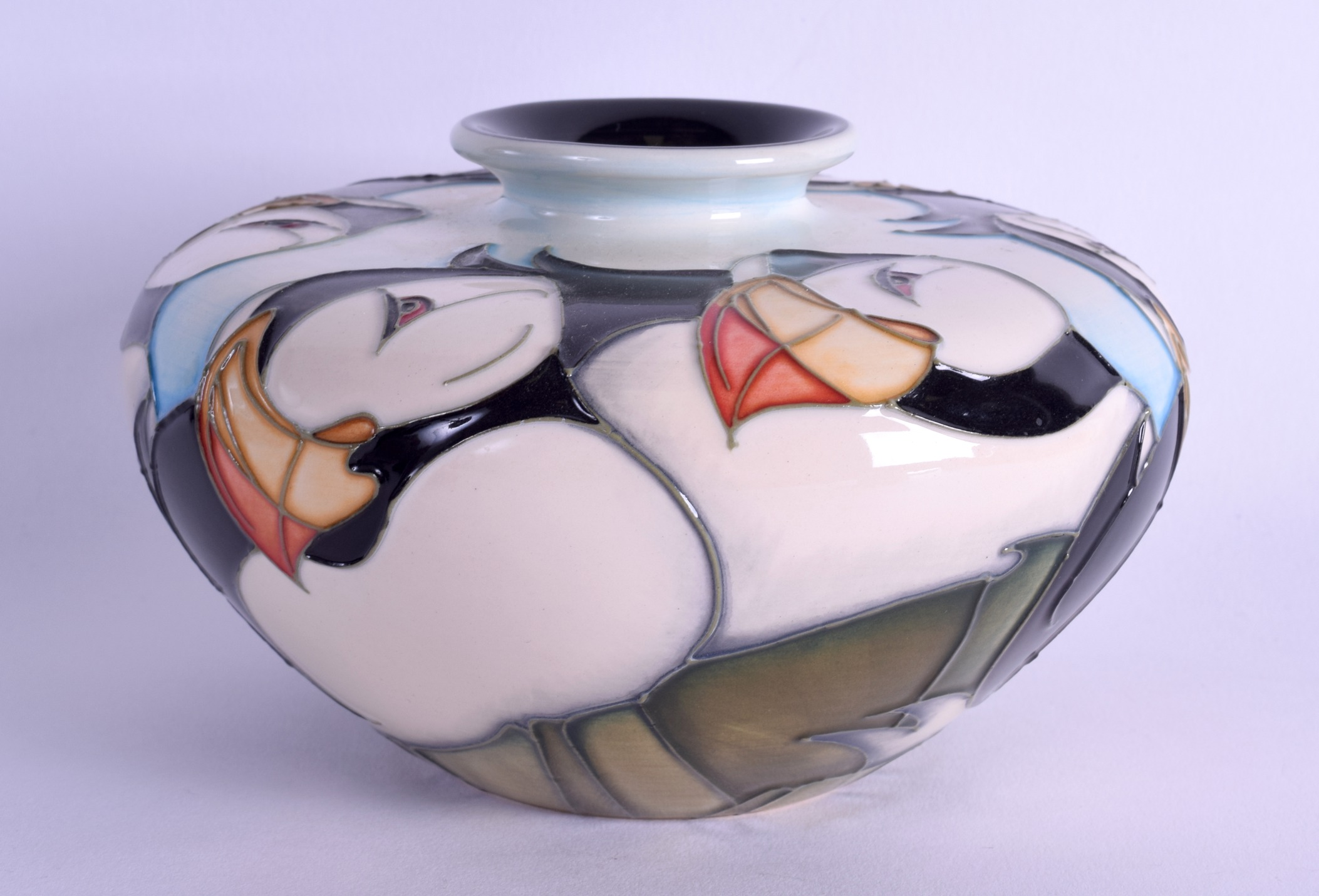 Lot 40 - A MOORCROFT 'BEMPTON CLIFFS' VASE designed by Emma Bossons. No 36. 14 cm wide.