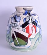 Lot 41 - A MOORCROFT 'HOMEWARD BOUND' VASE designed by Emma Bossons. No 52 of 100. 14.5 cm high.