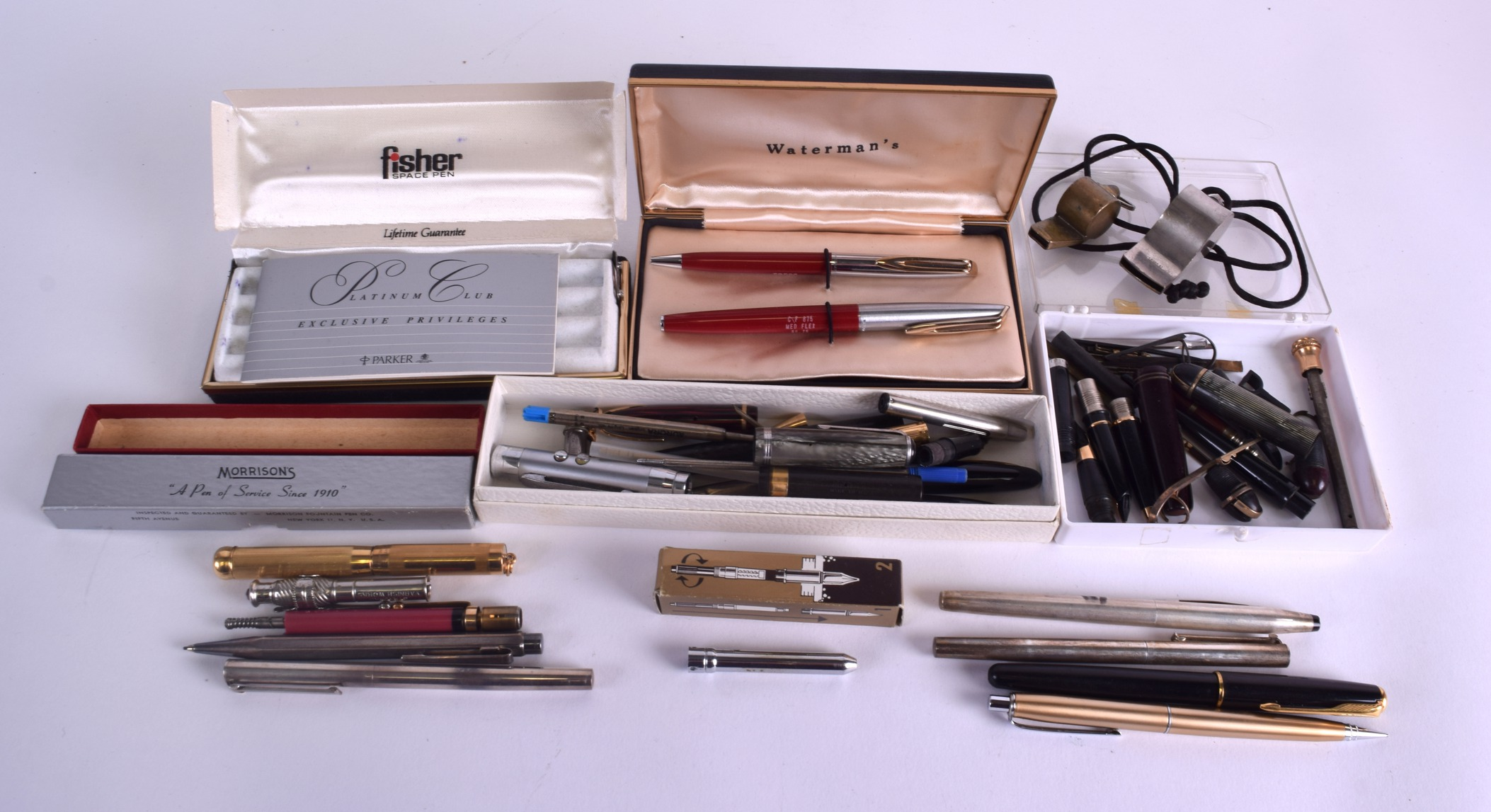 Lot 876 - A COLLECTION OF VINTAGE PEN CASES loose lids, cleaning kits, spare parts etc. (qty)