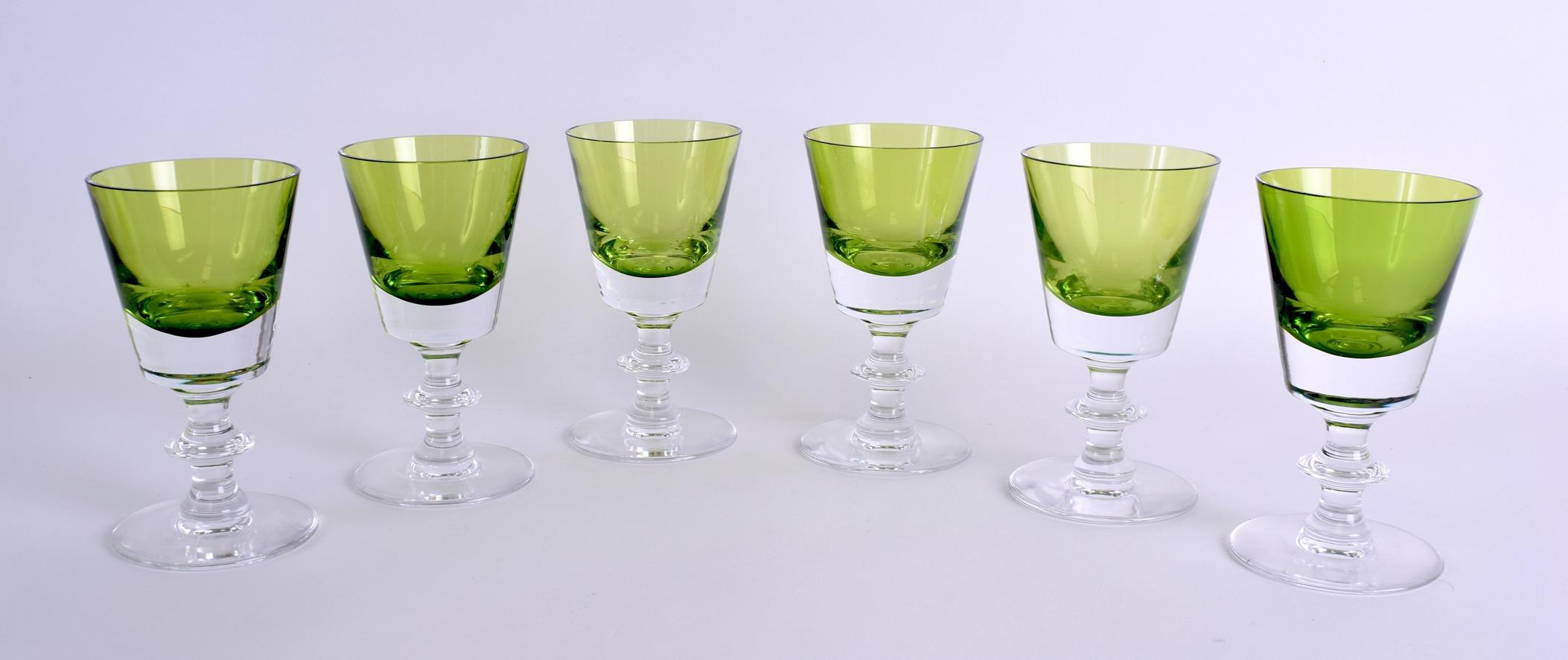 Lot 20 - A SET OF SIX FRENCH VAL ST LAMBERT GREEN GLASSES. 13.5 cm high. (6)