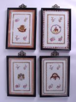 Lot 81 - A SET OF FOUR LATE 19TH CENTURY FRENCH SAMSONS OF PARIS PORCELAIN PANELS Chinese Export style.