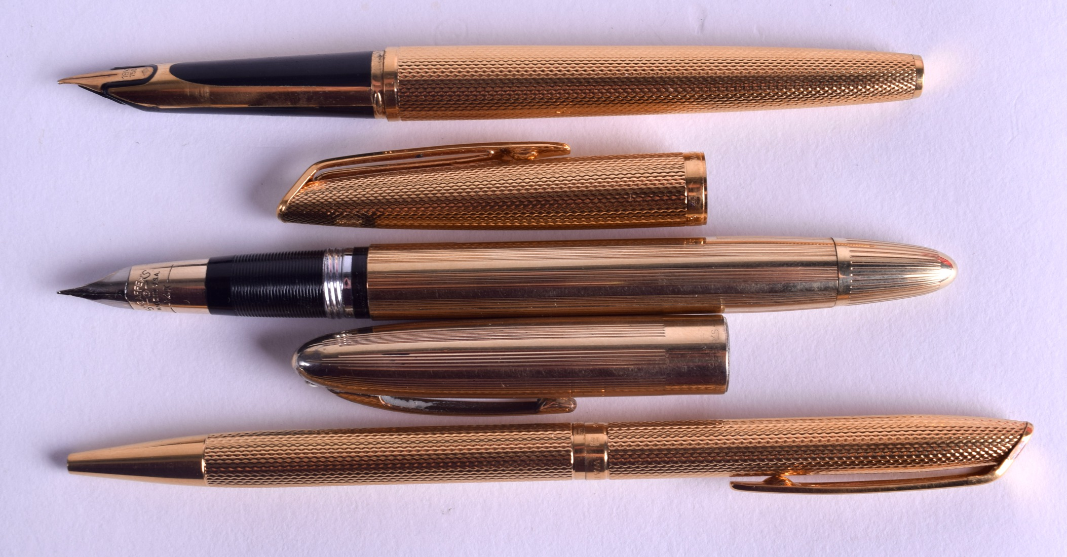 Lot 874 - A GOOD WATERMANS 18CT GOLD NIB FOUNTAIN & MATCHING PEN with another 14 ct gold nib Sheaffer. (3)