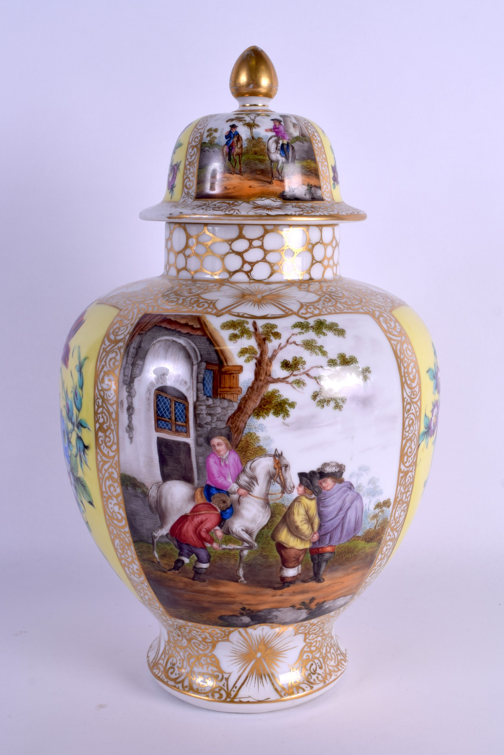 Lot 50 - A 19TH CENTURY GERMAN AUGUSTUS REX PORCELAIN VASE AND COVER painted with figures and horses within
