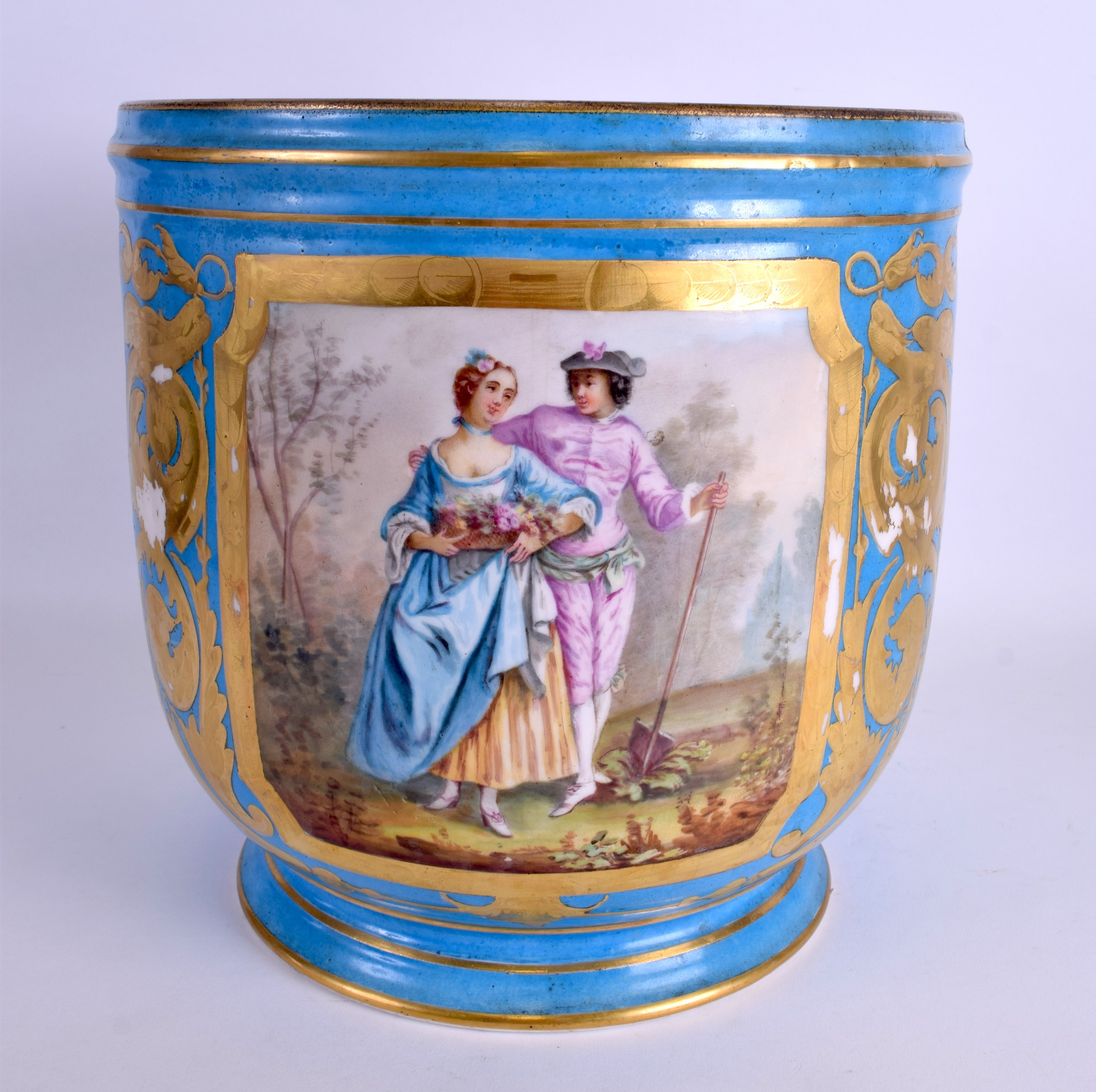 Lot 69 - A VERY LARGE 19TH CENTURY FRENCH SEVRES PORCELAIN JARDINIERE painted with figures within a