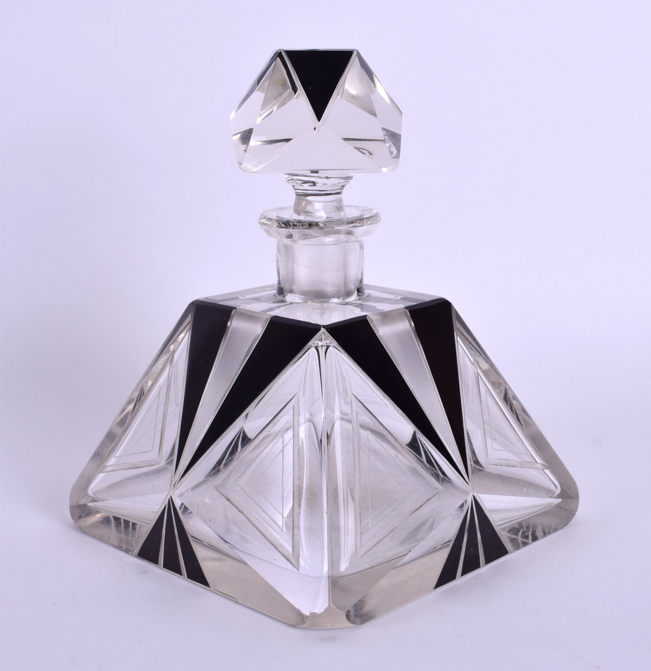 Lot 22 - A FRENCH ART DECO BLACK AND CLEAR GLASS SCENT BOTTLE. 14 cm x 10 cm.