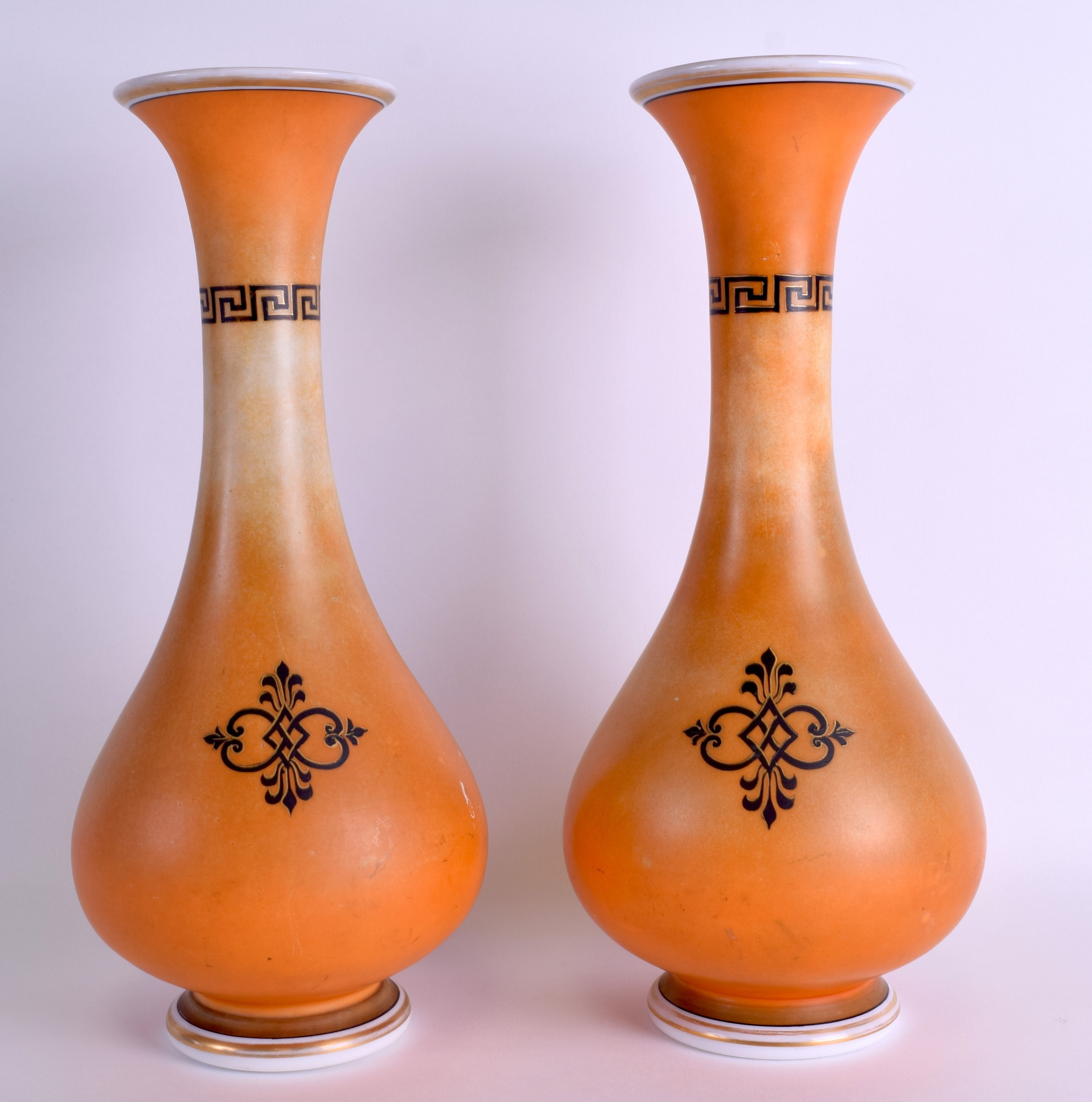 Lot 26 - A PAIR OF LATE 19TH CENTURY CONTINENTAL OPALINE GLASS VASES decorated with Roman portraits. 35 cm