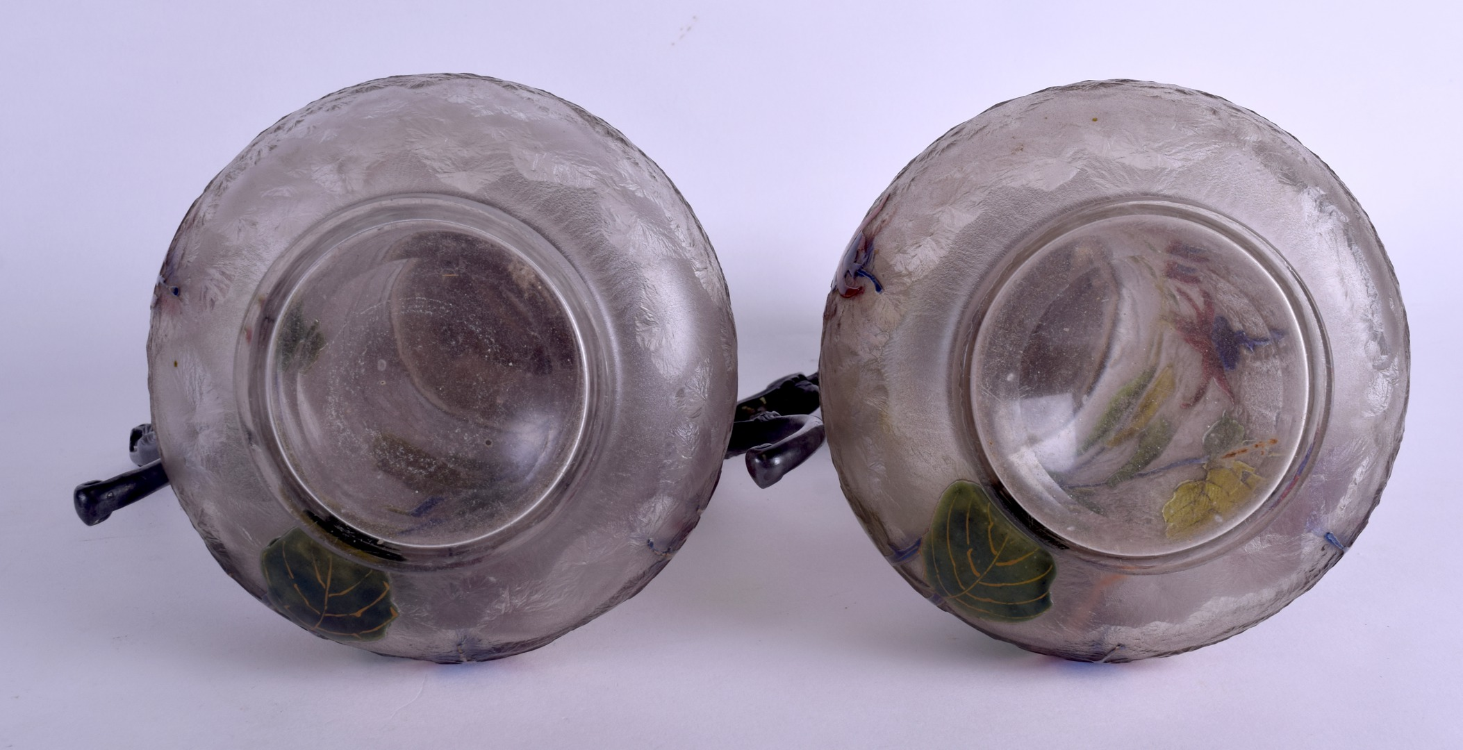Lot 9 - A LOVELY PAIR OF FRENCH ART NOUVEAU GALLE CAMEO GLASS CLARET JUGS with Christoffel silver plated